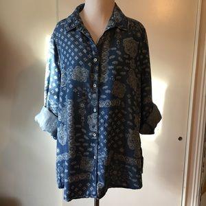 Foxcroft long sleeve shirt button down S:18w blue